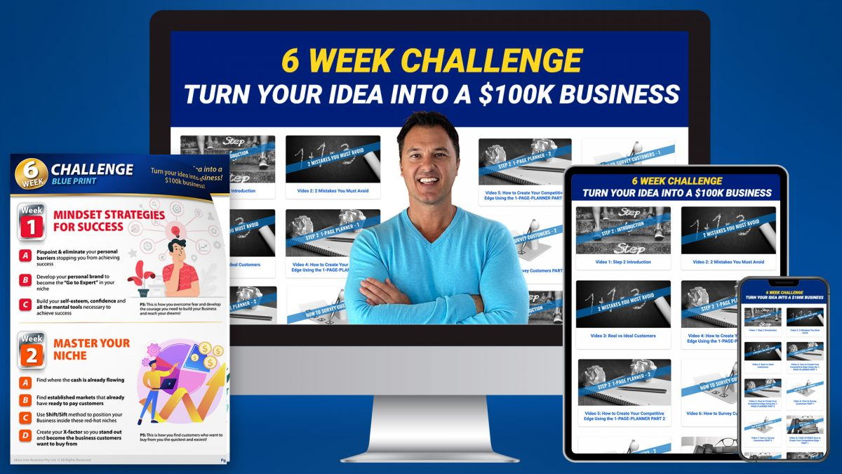 Turn Your Idea Into a $100k Business page image for Ideas Into Business